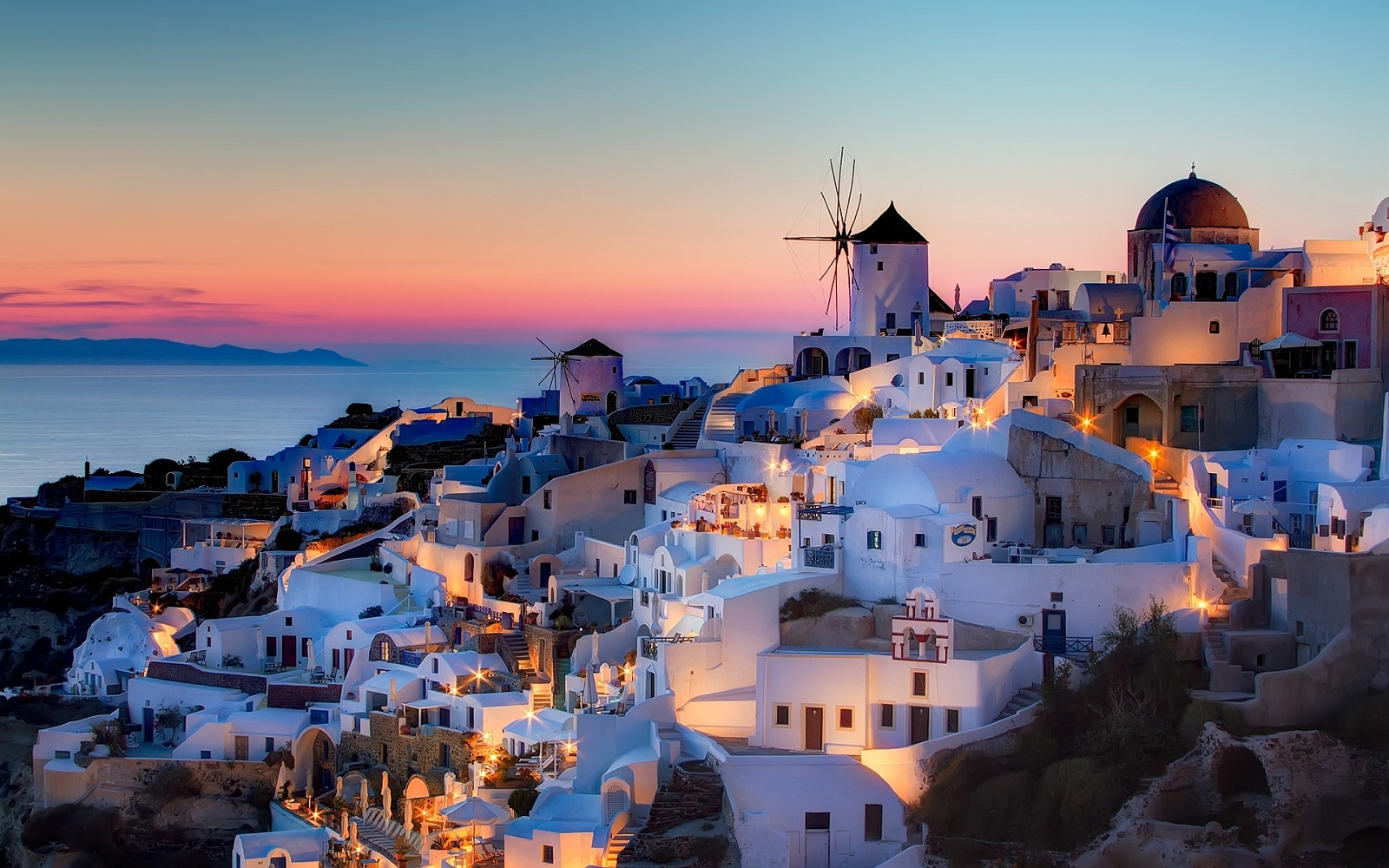 Night In Santorini Wide Desktop Background